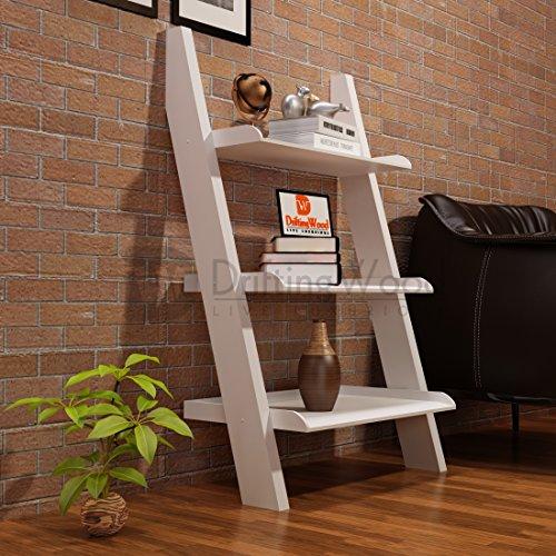 Driftingwood MDF Wooden Ladder Shelf Bookcase for Living Room   White