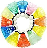 Garneck 24 peças petecas para badminton, petecas de plástico esportivas, estáveis, duráveis, bolas de badminto