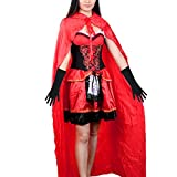 Christmas Costume - Vitalismo Wench Little Hooded Cosplay Dress with Cape Glove