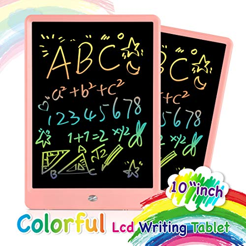 ORSEN LCD Writing Tablet 10 Inch, Colorful Magnetic Doodle Board Drawing Board, Erasable Reusable Writing Pad, Educational Writing Board for Kids and Adults at Home, School and Office (Pink)