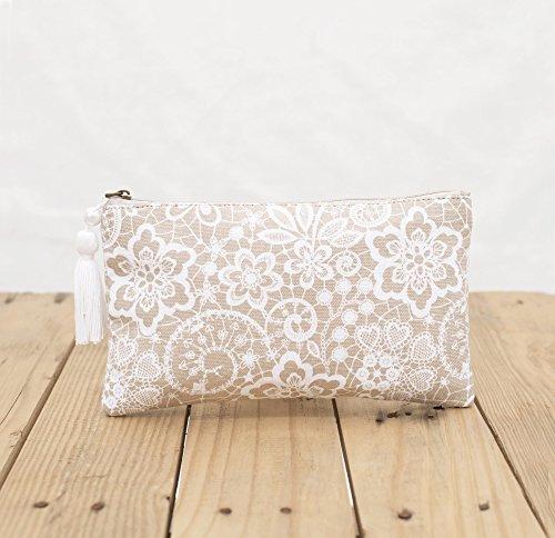 Pizzo stampa della frizione, beige, zip, make up o per cosmetici, borsello, dimensioni 12,7x 22,9cm