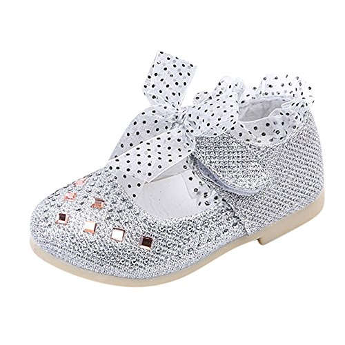 Sparkle Princess Shoes for Toddler Girls Sequin Bowknot Sparkle Low Chunky Heel Shoes with Lace Hook&Loop Toddler Girls Shinning Dancing Shoes Mary Jane Princess Party Dress Shoes for Toddlers & Girls