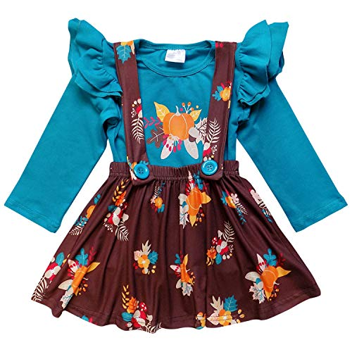 So Sydney Suspender Skirt 2 Piece Outfit, Girls Toddler Fall Winter Christmas Holiday Dress Up Boutique Outfit (XL (6), Fall Leaf Turquoise)