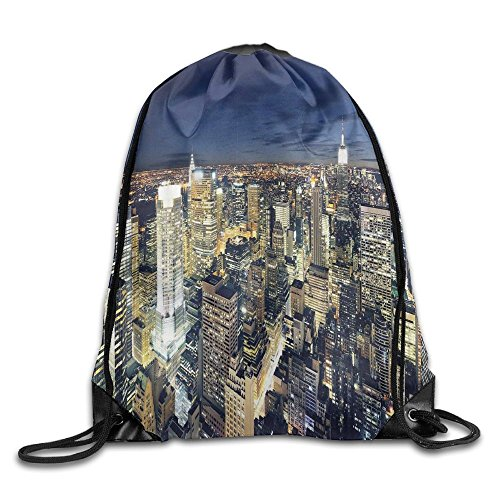 Weiding Modern Cityscape After Sunset Manhattan New York USA Architectural Drawstring Gym Sack Sport Bag For Men And Women (Architectural Usa)