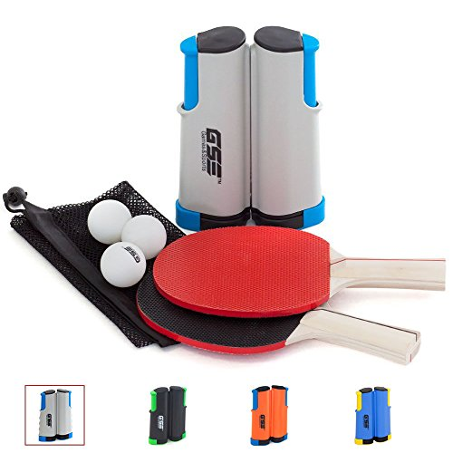 GSE Games & Sports Expert Anywhere Portable Ping Pong Table Tennis Set to Go - Includes Retractable Net & Post, 2 Paddles & 3 Ping Pong Balls (4 Colors) (Gray)