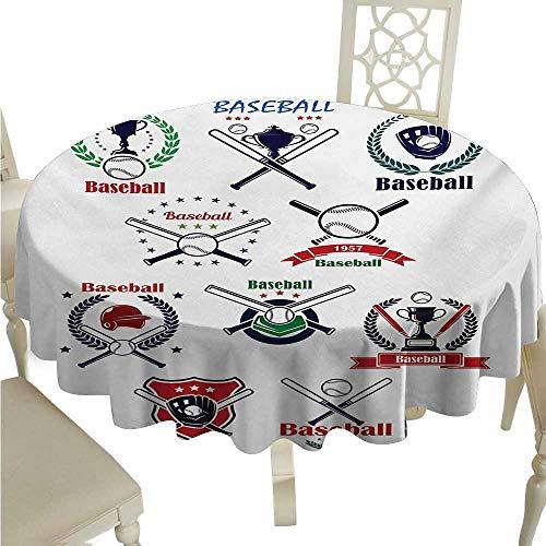 Sports Elegant Waterproof Spillproof Polyester Fabric Table Cover Baseball Gloves Balls Crossed Bats and Trophy Cups Stars Emblem Sports Design Runners,Gatsby Wedding,Glam Wedding Decor,Vintage Weddi