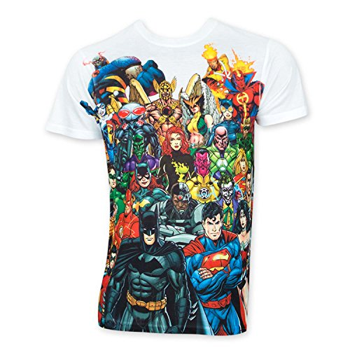 DC Comics New 52 Heroes and Villains Sublimated White T-shirt (Adult Medium) (Heroes And Villains Clothing)