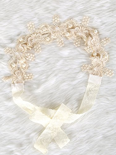 Beaded Flower Trim Accessory (Gorgeous Lace headband with crystal and pearl)