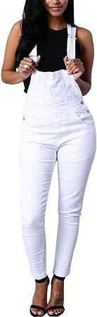 Tomwell Mujer Verano Chicas Peto Vaquero Mono Largos Jumpsuits Cuello En U de Tirantes Holgados Harem Pantalones de Babero