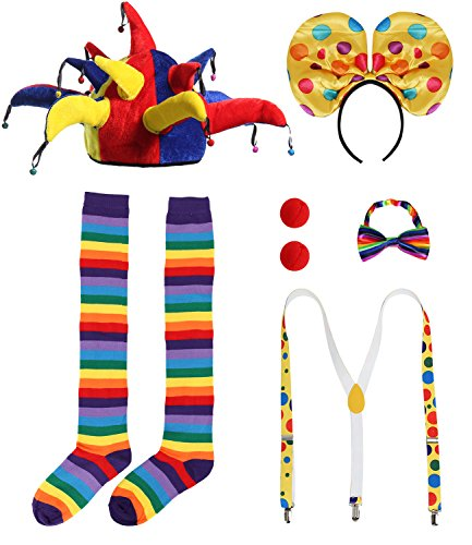 JustinCostume Clown Accessories Wig/Hat Socks Nose Bowtie Suspenders (C) -
