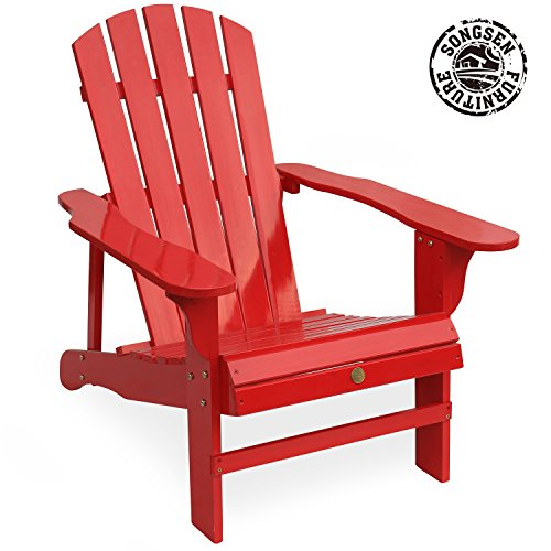 Adirondack Lounge Chair Set (Songsen Outdoor Log Wood Adirondack lounge Chair Patio Deck Garden Furniture - Red)