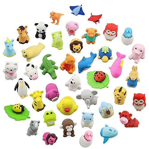 LW Funny Toys 30PCS Animal Erasers Zoo Animal Assorted Puzzle Erasers Collectible Party Favors Games Prizes Carnivals School Supplies Best Gifts Party Gifts