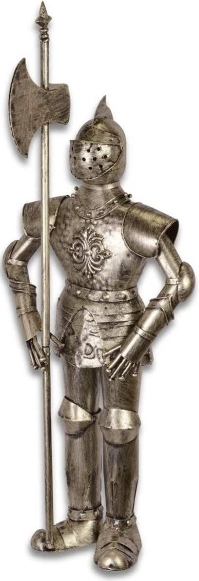 Casa Padrino Armadura Caballero Medieval con Lanza de Plata Antigua H. 92 cm - Armadura Decorativa de Hierro