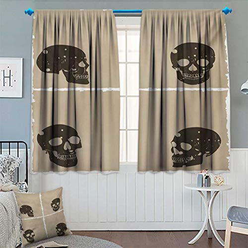 Anhounine Grunge,Blackout Curtain,Skull Figure on Murky Flat Framework