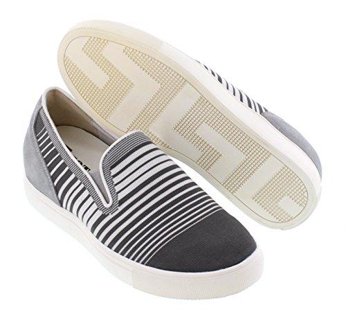 Calto H55063-2,4 Pollici Più Alto - Scarpe Rialzanti Con Altezza Aumentata - Sneakers Grigie Antiscivolo
