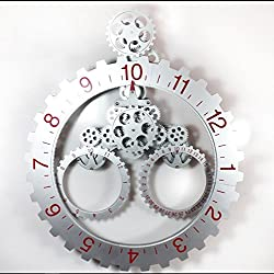DIY Assembly Large Gear Wall Clock Fashion Cool Creative Archaize Metal Wall Clock Quartz Silent Wall Clock Decorative Wall,SilverRed,685mm