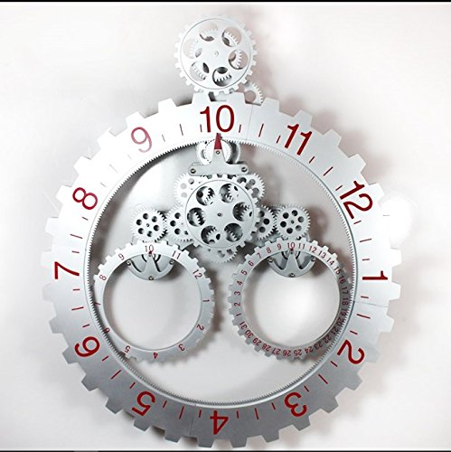 DIY Assembly Large Gear Wall Clock Fashion Cool Creative Archaize Metal Wall Clock Quartz Silent Wall Clock Decorative Wall,SilverRed,685mm by Daolin
