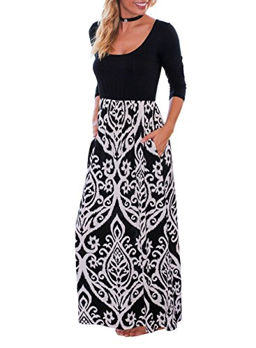 Trancylight Women Casual 3/4 Sleeve Printed Long Maxi Dresses with Pockets (Black, M) ()