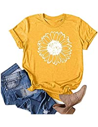 Women's Sunflower Printed Shirts Short Sleeve Tops Teen Girls Cotton Casual T-Shirt Graphic Tees