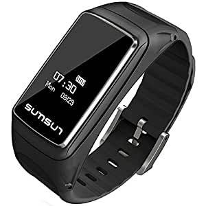 B3 Smart Band Watch 2 in 1 Talkband Bluetooth Smart Bracelet + Bluetooth Headset Wristbands for Android/iOS Smartphones B7 (Black)