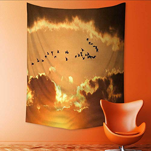 Auraisehome Tapestry Wall Hanging 3D Printing Flock of migratory Canadian Geese Flying at Sun Beach Throw Blanket 57W x 74L INCH ()