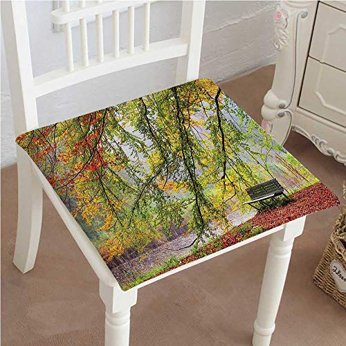 Mikihome Indoor/Outdoor All Weather Chair Pads Decor Collection Autumn View of A Bench Under Bright Colored Fall Leaves Freshening Seat Cushions Garden Patio Home Chair Cushions 22