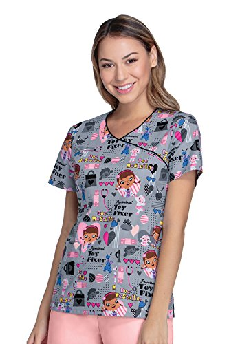 Cherokee Tooniforms Women's Mock Wrap Toy Fixer Print Scrub Top X-Large Print (The Best Cartoon Characters)