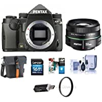 Pentax KP 24MP TTL Autofocus DSLR Camera, Black With Pentax SMCP-DA 50mm f/1.8 Standard Lens - Bundle With 16GB SDHC Card, Holster Bag, Cleaning Kit, 52mm UV Filter, Card Reader, Software Package