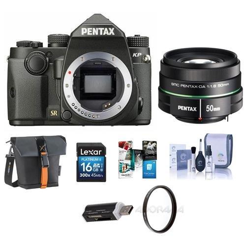 دوربین Pentax KP 24MP TTL فوکوس اتوماتیک DSLR ، سیاه و سفید SMCP-DA 50mm f / 1.8 لنزهای استاندارد - بسته نرم افزاری با کارت 16GB SDHC ، هولستر کیسه ، کیت تمیز کردن ، فیلتر UV 52 میلی متر ، کارت خوان ، بسته نرم افزاری