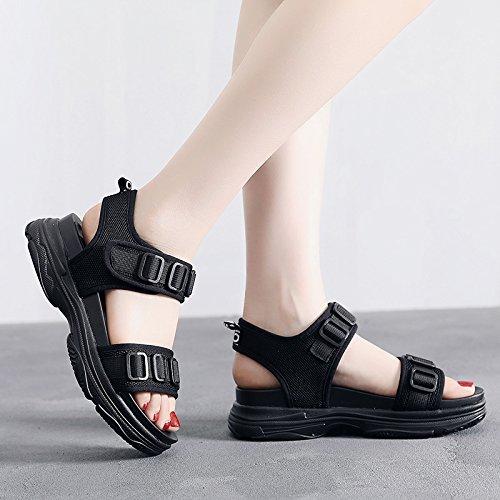 QQWWEERRTT Moda Sandalias Vintage Femenina Verano Nueva Plataforma Zapatos Gruesas Sandalias Deportivas Universales Gruesas negro