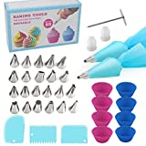 Piping Tips,38 Pcs Cake Decorating Supplies with 2 Silicone Pastry Bag 22 Tips 8 Silicone Cupcake Liners 1 Flower Nail and 3 Icing Smoother, cFone Great DIY Kit for Home Baker and Beginner