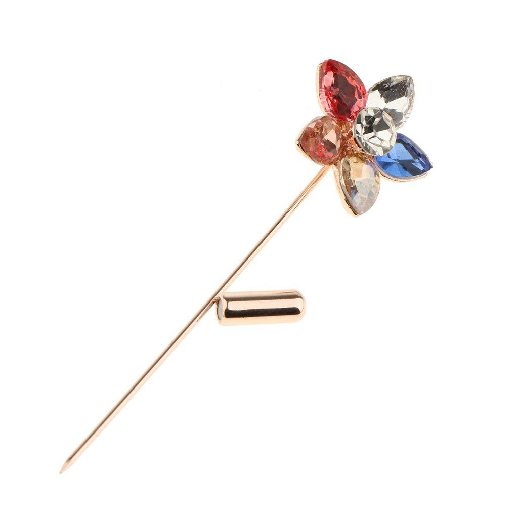 Baoblaze Broche Pin Fleur Boutonniere Revers Epingle /à Chapeau en Alliage Strass