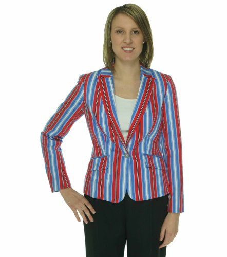 Jones New York Women's Striped Cotton Blend Blazer (8, Coral Sea Multi) (Striped Suit New York Jones)