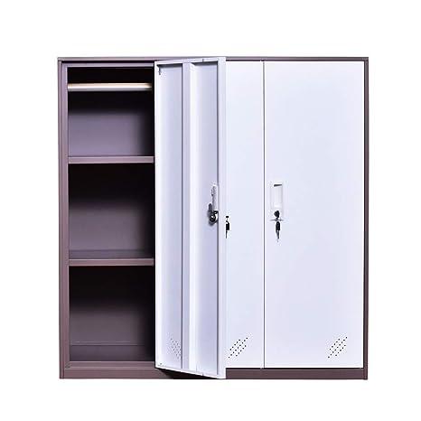 Amazon.com : 3 Door Small Bedroom Furniture, Metal Locker with Cloth ...