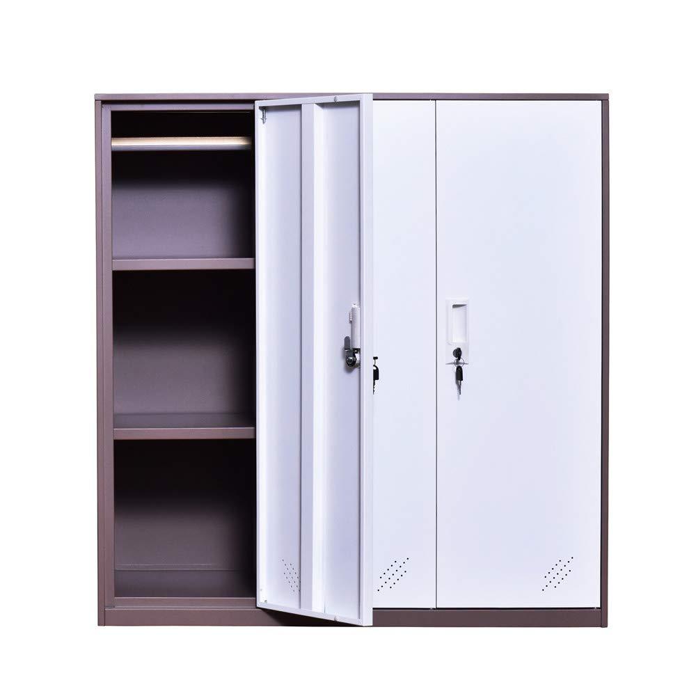 3 Door Small Bedroom Furniture,Metal Locker with Cloth Rail and Shelf,Kids Living Room Locker,Storage lockers for Office (3D)