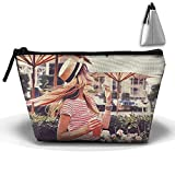 Portable Travel Storage Bags Girl With Hats In Summer All Printed Clutch Wallets Big Zipper Holder