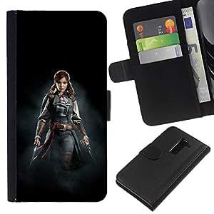LECELL--Cuero de la tarjeta la carpeta del tirón Smartphone Slots Protección Holder For LG G2 D800 -- ASESINOS mujer pirata --