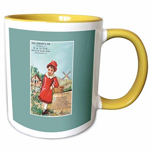 3dRose BLN Vintage Trade Cards Featuring Children - Importers of Cards Philadelphia PA Girl in a Red Coat with a Basket - 11oz Two-Tone Yellow Mug - Pa Philadelphia Outlets In