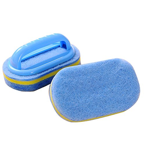 CY Household Cleaning Supplies for Kitchen, Bathroom - Plastic Handle Sponge Brush - Tile, Shower Bathtub Scrubber, Set of 2, Color Send by Random by chuangyu (Image #1)
