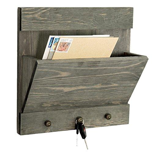 Weathered Gray-Washed Wood Wall Mounted Magazine & Mail Holder Rack with 3 Key Knob Hooks