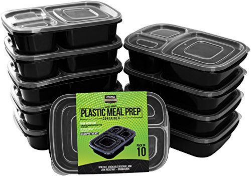 Utopia Kitchen Meal Prep Food Containers -10 Pack - 3 Compar