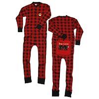 Lazy One Flapjacks Adult Pajamas (Red Plaid Bear Cheeks)