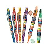 Home - Fun Express Transparent Glitter Stacking Point Crayons (Pack of 24) - Stationery and Crayons Toy
