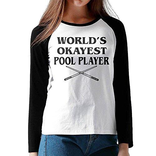 Hexu World's Okayest Pool Player Womens Long Sleeve Raglan Tee Black XL