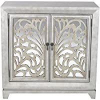 Heather Ann Creations 2 Door Accent Cabinet/Console with Mirror Backed Carved Grille and Center Shelf, 32 x 32, Silver/Gold