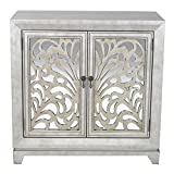 Heather Ann Creations 2 Door Accent Cabinet/Console with Mirror Backed Carved Grille and Center Shelf, 32'' x 32'', Silver/Gold