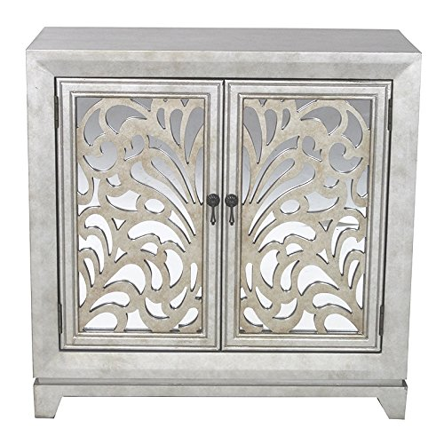 Heather Ann Creations 2 Door Accent Cabinet/Console with Mirror Backed Carved Grille and Center Shelf, 32'' x 32'', Silver/Gold by Heather Ann Creations