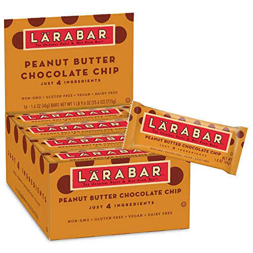 Larabar Gluten Free Bar, Peanut Butter Chocolate Chip, 1.6 oz Bars (16 Count) - Fiber Chews Chocolate