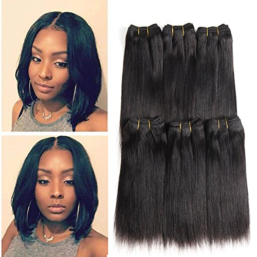 Brazilian Hair Straight 6pcs /lot 100% Raw Unprocessed Human Hair Extensions Brazilian Virgin Hair Silky Straight Weave Human Hair Bundles Double Weft 50g/Bundle Totally 300g(6pieces 8inch)