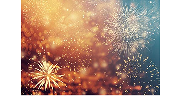 7x5 FT Microfiber Happy New Year Backdrop Splendid Fireworks Illuminating The Midnight Vintage Golden Bokeh Background for Photography or Decoration 10-421
